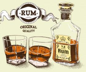 Original quality rum retro poster vector