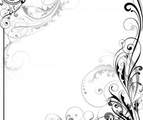 Ornament floral design corner swirl vector