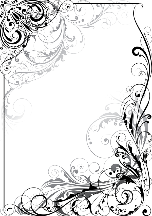 Ornament floral design corner swirl vector