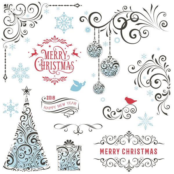 Ornate Winter Holiday Swirl Vector Set
