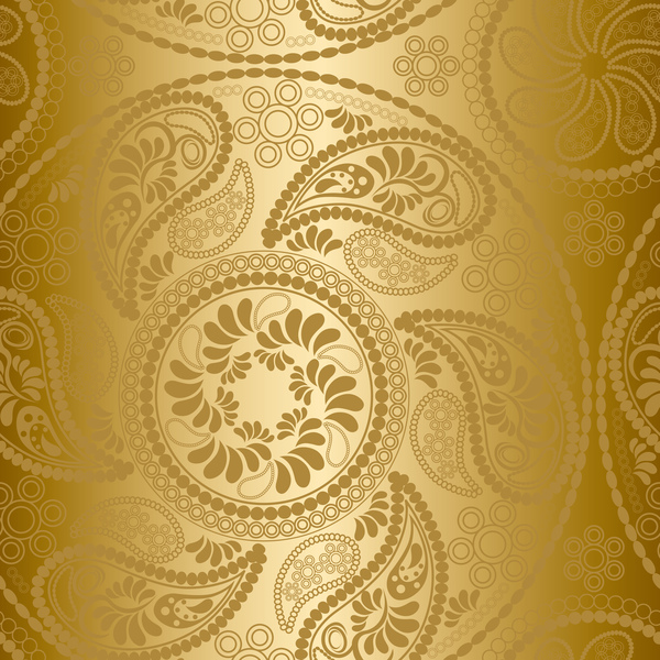 Paisley Pattern Golden Vector Free Download