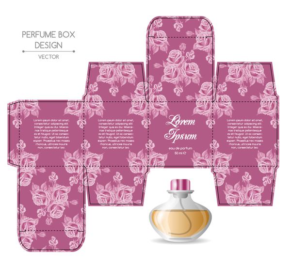 Perfume box packaging template vectors material 01 free for Cologne box template