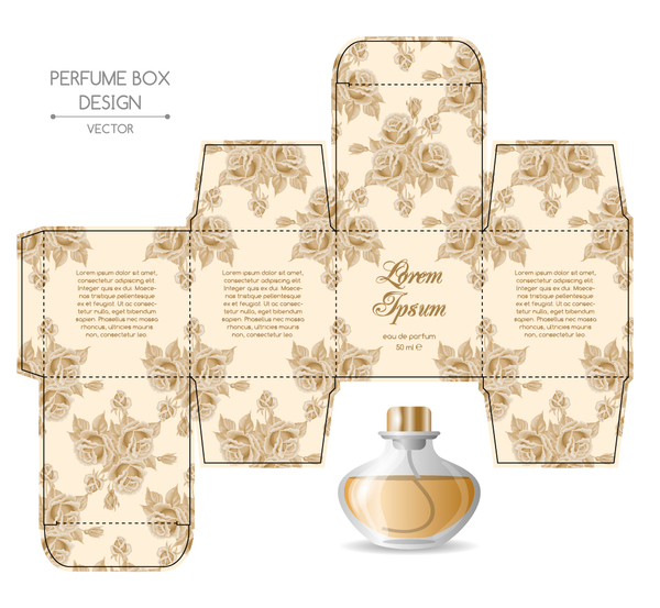 cologne box template - perfume box packaging template vectors material 03