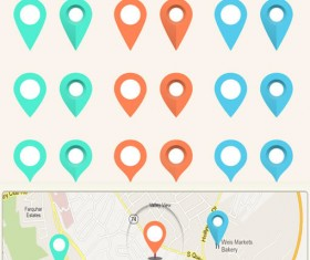 Phone map location icon set