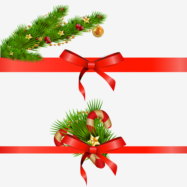 pine branch with red bow christmas decor vector