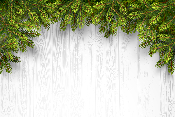 Pine with wooden christmas background vector 05