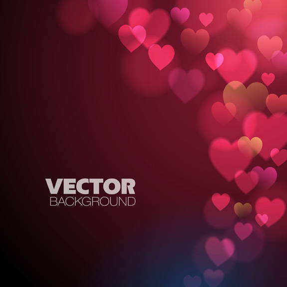 Pink red heart with vector background