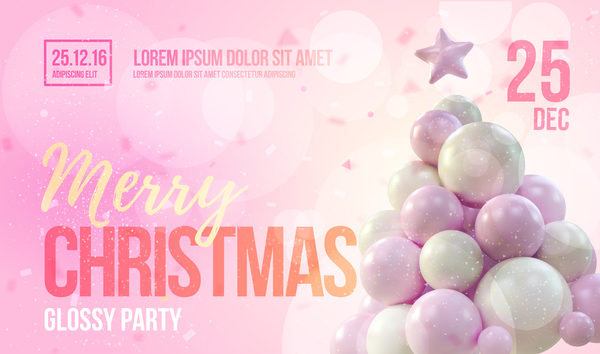 Pink Xmas Party Flyer Template With Balloon Christmas Tree Vector 02