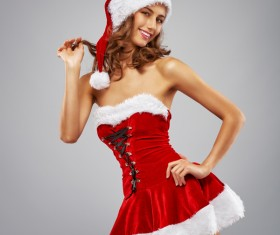 Playful Santa girl Stock Photo