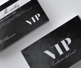 Polygon black VIP card front and back template vector