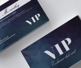 Polygon blue VIP card front and back template vector