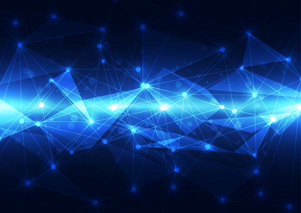 Polygon With Blue Tech Background Vector Free Download