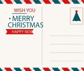 Postcard christmas envelope with decorative borders vector 01