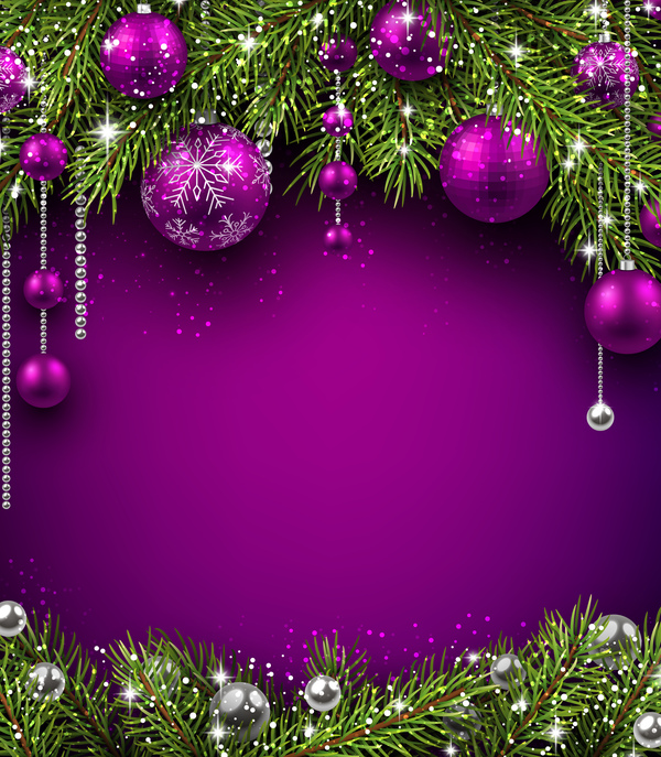Purple christmas decor with background vector - Vector Background ...