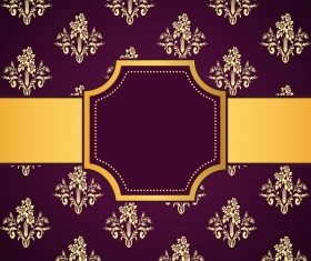Purple decoration pattern background with golden frame vector 01