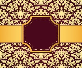 Purple decoration pattern background with golden frame vector 02