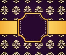 Purple decoration pattern background with golden frame vector 03
