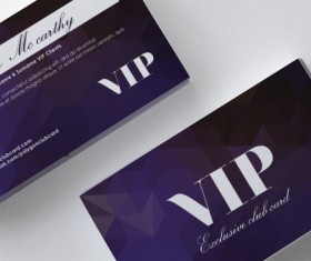 Purple polygon VIP card front and back template vector
