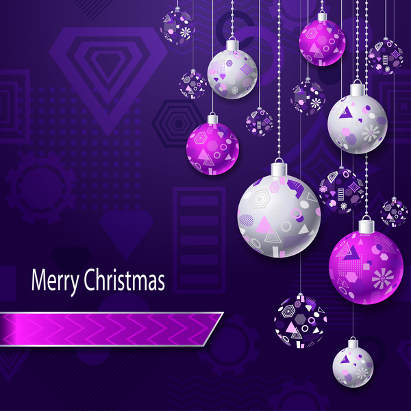 Christmas Purple.Purple Silver Christmas Balls With Dark Purple Background