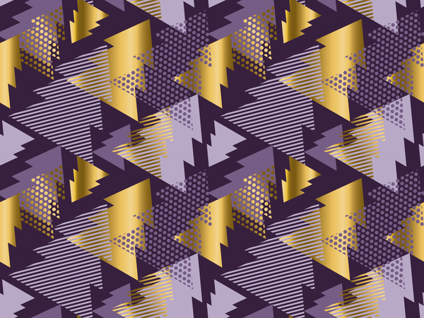 Purple with golden christmas tree seamless pattern vector