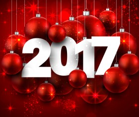 Red 2017 new year background with red christmas baubles vector 02