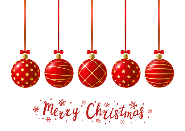 Red Christmas Balls With White Background Vector 02 Free