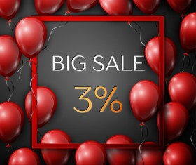 Red balloons frame with big sale percent discounts vector template 01