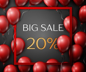 Red balloons frame with big sale percent discounts vector template 20