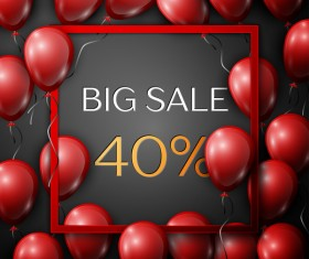 Red balloons frame with big sale percent discounts vector template 09