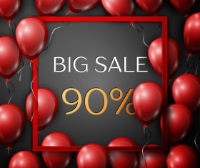 Red balloons frame with big sale percent discounts vector template 19