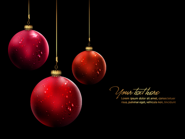 Red christmas ball with dark background vector - Vector Background ...