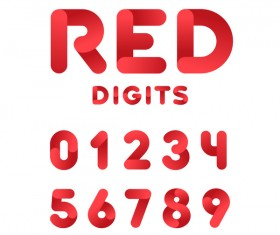 Red digits numbers vector