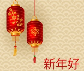 Red lantern with beige chinese new year background vector