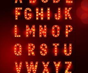 Red neon alphabet shining vector