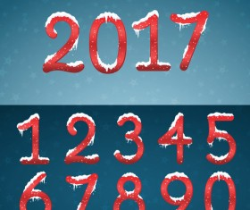 Red numbers with snow caps and 2017 new year vector