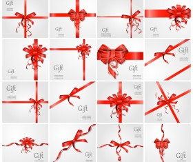 Red ribbon bow with gift card vector