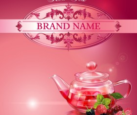 Red tea poster template vector