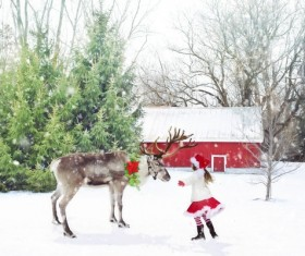 Reindeer with little girl HD picture