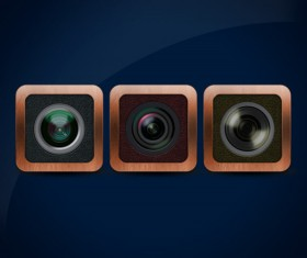 Retro camera lens psd material