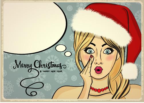 Retro christmas card with xmas girl vector 02