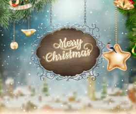 Retro christmas signboard with xmas background vector 01