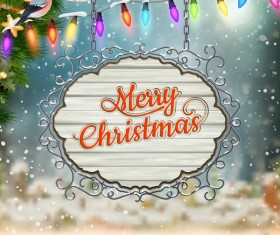 Retro christmas signboard with xmas background vector 02