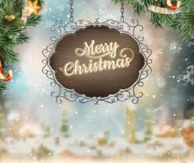 Retro christmas signboard with xmas background vector 04