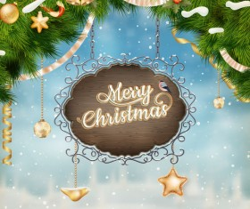 Retro christmas signboard with xmas background vector 06