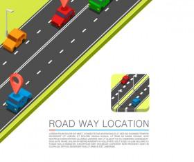Road way location coordinate infographic vector 01