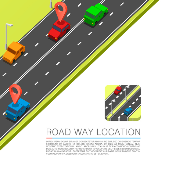Road way location coordinate infographic vector 01