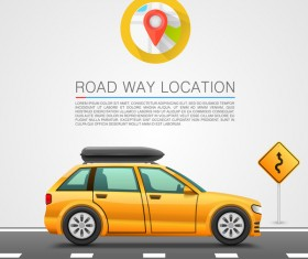 Road way location coordinate infographic vector 02