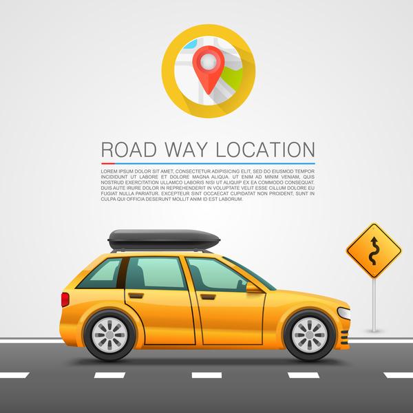 Road way location coordinate infographic vector 02