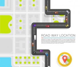Road way location coordinate infographic vector 03