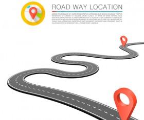 Road way location coordinate infographic vector 04